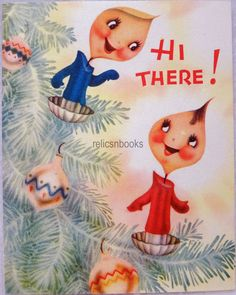 #873 40s ANTHROPOMORPHIC Tree Candles, Vintage Christmas Card-Greeting
