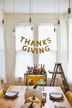 Thanksgiving Week banner (made with letters from JoAnn's and glitter)