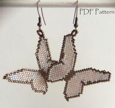 Patron para hacer aretes de mariposas con mostacillas by BelPunto | Etsy