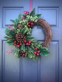 PInecone Wreaths, Winter Door Wreaths, Green Red, Winter Decor, Grapevine Wreaths Winter, Christmas Wreaths by WreathsByRebeccaB on Etsy