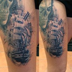 Tattoo boat ship clock skull