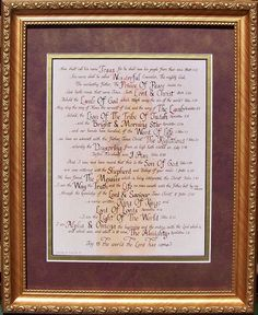 Scripture names for Jesus calligraphy and art framed and matted for home decor and gift giving