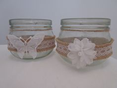 8 Hessian Lace Handmade Glass Jars by BowsandSurprises on Etsy Glass Jars, Mason Jars, Hessian, Lace, Creative, Handmade, Etsy, Vintage, Vintage Comics