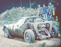 Works Lancia Stratos rally car in the Forest of Dean on the 1975 R.A.C. Rally, driven by Bojn Waldegard.