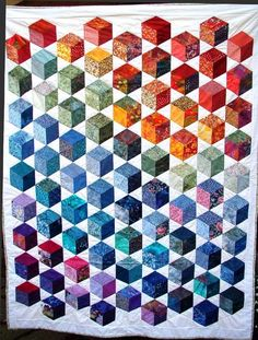 Tumbling Blocks 60* Diamonds Paperpieces.com. Bricks in happy colors.