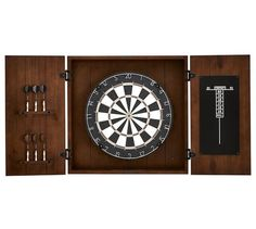 Dartboard Wood Cabinet Game Set, Mahogany stain