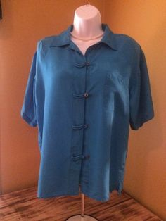 Womens Blue Blouse 100% Silk by Sophisticates Short Sleeve Size M #SophisticatesPetites #Blouse