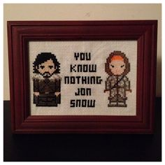 Game of Thrones Jon Snow & Ygritte Cross Stitch Picture Framed on Etsy, $40.00