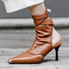 Chiko Earl Wrap Up Ankle Boots feature round toe, wrap upper, block heels with rubber sole. Kitten Heel Boots, High Heel Boots, Heeled Boots, Shoe Boots, Ankle Boots, High Heels, Shoes Heels, Pointed Toe Block Heel, Pointed Toe Heels