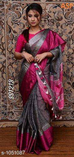 Sarees Attractive Linen Saree  *Fabric* Saree - Linen, Blouse - Linen  *Size* Saree Length With Running Blouse - 6.3 Mtr  *Work* Handloom Work  *Sizes Available* Free Size *   Catalog Rating: ★4 (1142)  Catalog Name: Aaryahi Solid Linen Sarees with Tassels and Latkans CatalogID_127991 C74-SC1004 Code: 357-1051087-