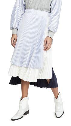 Clu Colorblock Pleated Skirt In Navy/white Pleated Skirt, Midi Skirt, Asymmetrical Design, Clu, White Fabrics, World Of Fashion, Luxury Branding, Navy And White, Color Blocking