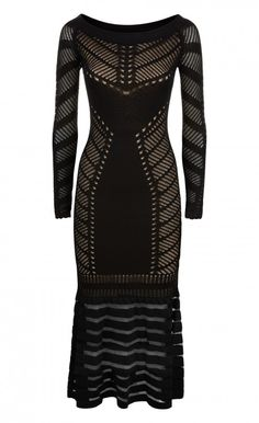 Midi Alysia Knit Dress -          Ladder pointelle knit with an intricately delicate sheer stripe skirt for a graphic effect. A Temperley classic brought up to date, this long-sleeved dress with a fishtail hem creates a fluid silhouette on the body.  - Composition: 75% Viscose 25% Nylon, Lining: 100% Rayon - Fit: Calf Length Fitted Through Body And Flaring Out At Hem - Lining: Lined - Length: Midi Length - Wash Care Instructions: Dry Clean Only. Do Not Hang.