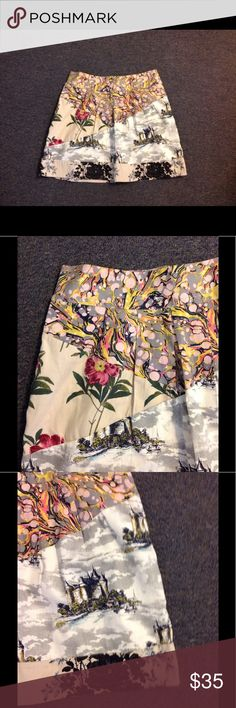 "Anthro Leifnotes Floral Castle Skirt 12 Cute Anthropologie Leifnotes skirt. Floral print - flared style. Made of cotton and lined. Size 12 - nice condition. Waist 33"" Length 18"" Anthropologie Skirts"