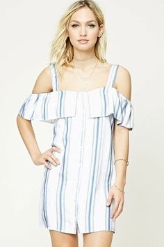 Forever 21 Contemporary - A woven shift dress featuring a striped pattern, open-shoulder design, sweetheart neckline with a flounce layer, short sleeves, and a button front.