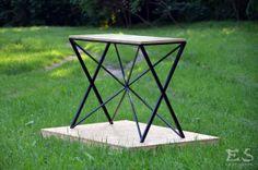 Coffee table, table, iron, wood, oak, industrial, furniture, minimalism, black, mat, stolik, stół, drewno, minimal