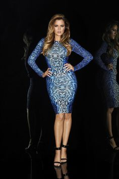 Khloe in the blue leopard print bodycon