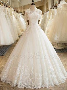 #AdoreWe #DressWe DressWe Ball Gown Off the Shoulder Short Sleeves Appliques Wedding Dress - AdoreWe.com