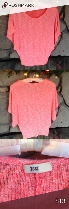 Coral Short Sleeve Sweater ISSI Coral sweater has short dolman sleeves, scoop neck, made by ISSI.  Can't find size tag - looks like it's juniors M or L.  Clean, hardly worn, smoke free home. issi Sweaters Crew & Scoop Necks
