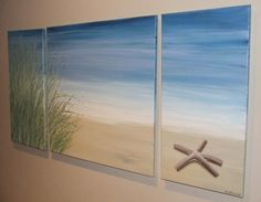 Items similar to Starfish Beach Sand Dune - Original Seascape Canvas Painting by Stephanie on Etsy Cuadros Diy, Beach Art, Ocean Beach, Blue Beach, Beach Crafts, Beach Scenes, Coastal Decor, Painting Inspiration, Diy Art