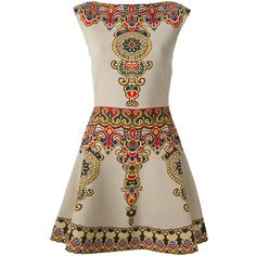 VALENTINO baroque print cocktail dress ($1,300) ❤ liked on Polyvore featuring dresses, vestidos, valentino, short dresses, brown cocktail dress, gold cocktail dress, mini dress, skater skirt and gold dress