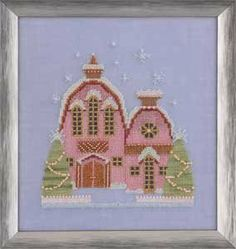 Little Snowy Pink Cottage is the title of this cross stitch pattern from the Mirabilia Snow Globe Village Series. The cross stitch pattern i...