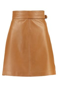 Cognac brown leather a line skirt