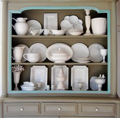 Nicely displayed white dishes in open shelving. Dish Display, China Cabinet Display, Cabinet Decor, Display Shelves, Hanging Cabinet, Rental Makeover, White Dishes, Shelf Design, Open Shelving