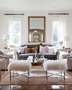 Love Everything About This Fur Stools, Fur Chairs, Living Room Without  Curtains, Curtains