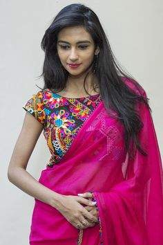 Black and multicoloured kutchwork blouse