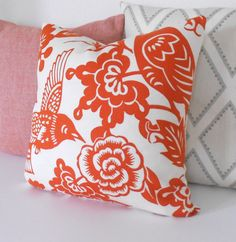 Red orange floral decorative pillow Thomas Paul by pillowflightpdx