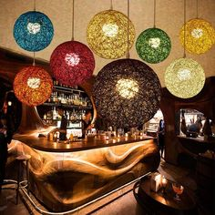 New Creative Personality Colorful Pendant Lamps Restaurant Bar Cafe Lamps Rattan Field Pasta Ball Pendant light Wicker Pendant Light, Pendant Lamps, Light Pendant, Lamp Light, Pendants, Round Lamp Shade, Morrocan Decor, Morrocan Chandelier, Home Decor Lights