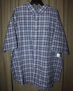 Men's Button Front Blue Plaid Casual Shirt Short Sleeve Size 3X or 4X NEW NWT | eBay