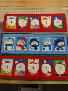 This is a Patchwork Santa table runner with all the blocks made in the hoop. This is a Christmas machine embroidery design.There are 5 different Santa blocks in this table runner and they are then joined with the sewing machine. Christmas Crafts, Christmas Decorations, Xmas, Craft Markets, Christmas Embroidery, Machine Embroidery Designs, Embroidery Ideas, Table Runners, A Table