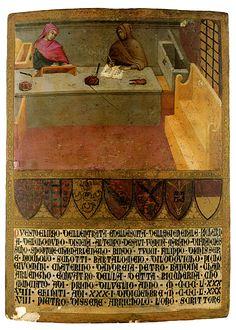 Siena, Archivio di Stato - Paolo di Giovanni Fei (?) - Biccherna - Il Camarlingo e lo scrittore nel loro ufficio - 1388, luglio-dicembre