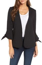 Olivia Moon Gibson Tie Sleeve Knit Blazer (Regular & Petite) available at #Nordstrom