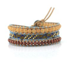 Red and Gold Sand Beads with Seed Beads on Natura - Wrap Braceletl
