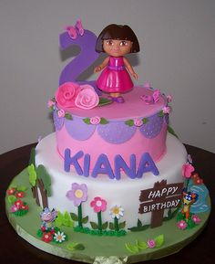 Image detail for -Dora Birthday Cakes White and Pink Dora Fondant Birthday Cake ...