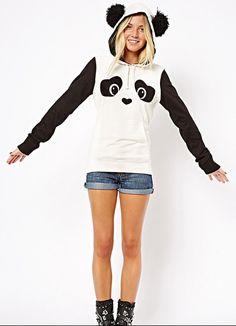 Panda Print Contrast Color Hooded Cute Sweatshirt