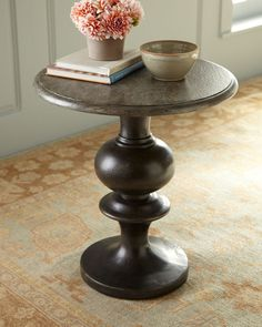 """Eston"" Pedestal Accent Table - Horchow"