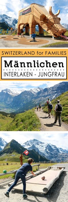 Gorgeous panorama views from this easy family hike that winds along the mountains below the Jungfrau, with a playground to reward good little hikers. Switzerland Itinerary, Switzerland Vacation, Visit Switzerland, Swiss Travel Pass, Hiking With Kids, Belle Villa, Playground, Places To See, Trail