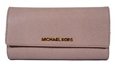 Women's Clutch Handbags - Michael Michael Kors Jet Set Travel Checkbook Wallet Leather Blush * Read more at the image link. Clutch Handbags, Card Case, Michael Kors Jet Set, Leather Wallet, Random Stuff, Image Link, Blush, Amazon, Travel