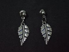 Woman earring silver leaf stud earring #Handmade #Stud