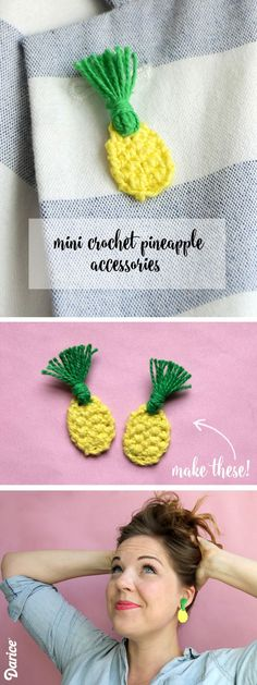 Make your own mini crochet pineapple accessories. You only need a few supplies & less than an hour to make a pair of totally unique earrings or funky pin!