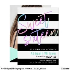 Modern girly holographic sweet sixteen birthday invitation Pretty holographic Sweet 16 birthday party invitation with black and white stripes and elegant calligraphy font. Upload your favorite photo. Sweet Sixteen Invitations, Pink Invitations, Custom Invitations, Invites, Sixteenth Birthday, 16th Birthday, Sweet Sixteen Parties, Printable Birthday Invitations, Sweet 16 Birthday