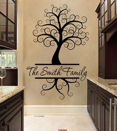 Custom Wall Decal   Tree Wall Decal   Black   Wall Decal   Tree   Curly Tree  Wall Decal   Family Name Wall Decal   Custom Wall Decal