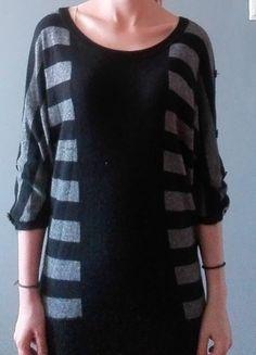Kup mój przedmiot na #vintedpl http://www.vinted.pl/damska-odziez/dlugie-swetry/9830485-czarno-szary-sweter-w-paski-34-rekaw
