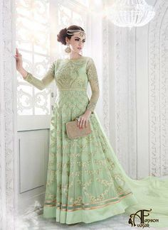 Anarkali Style Salwar Kameez Green Georgette Fabric. Anarkali Style Green with Embroidery Work Exquisite Unstitched Salwar Kameez The lovely Lace
