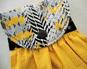 Edgy Contemporary Print Fabric Topper on a Yellow Hanging Kitchen Towel, Hanging Dish Towel, Quilted Dish Towel