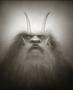 """""""The Great Woolly Krampus"""" He sneaks up on his victims and kisses them full on the lips. The magical kiss promotes an amazing amount of hair growth. Often, the affliction covers the entire body with hair, much like cousin it from the Addams Family."""