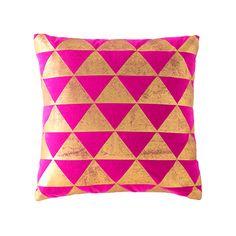 Gold & Pink Triangle Geometric Pillow | dotandbo.com